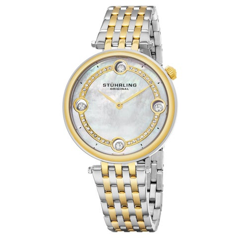 Stuhrling Original Women's Quartz Crystal Two-Tone Stainless Steel Link Bracelet Watch - silver