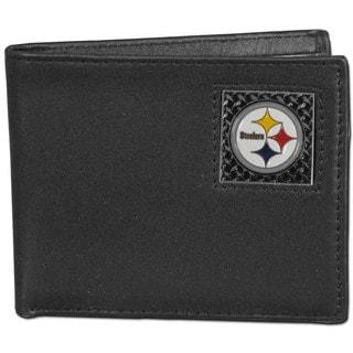 NFL Pittsburgh Steelers Gridiron Black Leather Bi-fold Wallet in Gift Box