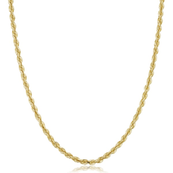 Fremada Unisex 14k Yellow Gold 3.1-mm Solid Rope Chain Necklace (18 - 36 inches)