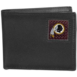 NFL Washington Redskins Gridiron Black Leather Bi-fold Wallet in Gift Box