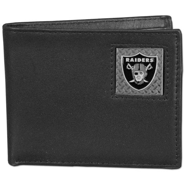NFL Oakland Raiders Gridiron Black Leather Bi-fold Wallet in Gift Box