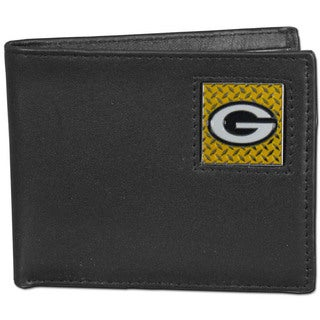 NFL Green Bay Packers Gridiron Black Leather Bifold Wallet in Gift Box