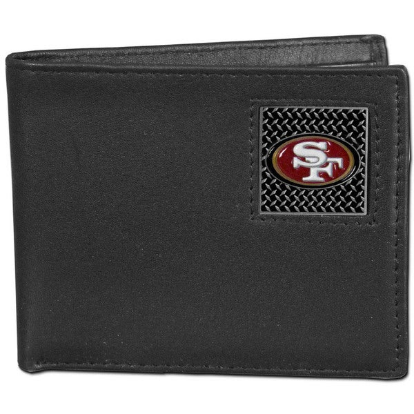 NFL San Francisco 49ers Gridiron Black Leather Bi-fold Wallet and Gift Box Set