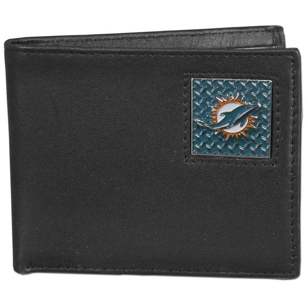 NFL Miami Dolphins Gridiron Black Leather Bi-fold Wallet in Gift Box