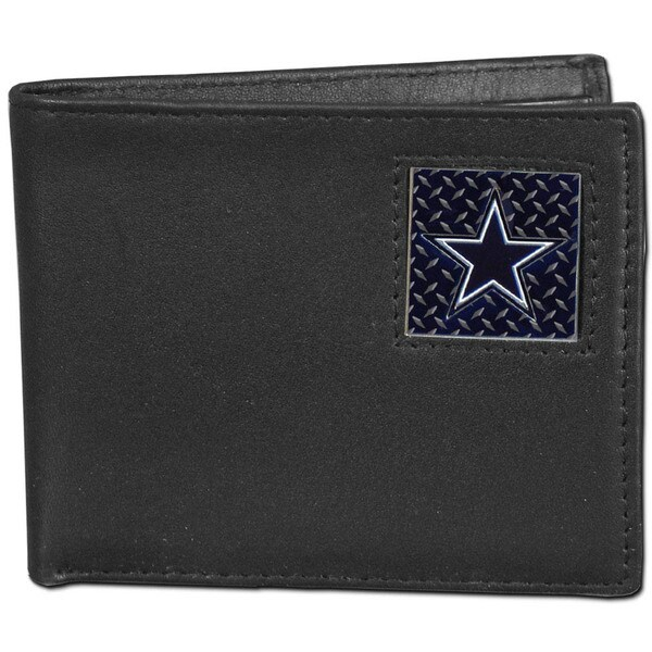 NFL Dallas Cowboys Gridiron Black Leather Bifold Wallet in Gift Box