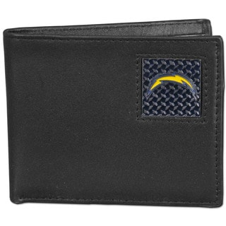 NFL San Diego Chargers Gridiron Black Leather Bi-fold Wallet in Gift Box