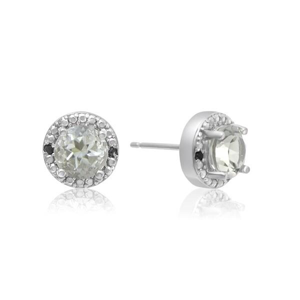 1 2 Tgw Green Amethyst And Black Diamond Halo Stud Earrings In Sterling Silver