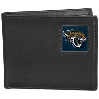 NFL Jacksonville Jaguars Black Leather Bi-fold Wallet and Gift Box Set