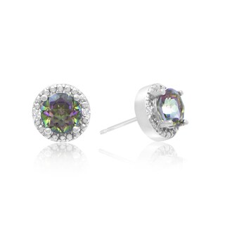 1 1/2 Carat Mystic Topaz and Diamond Halo Stud Earrings In Sterling Silver