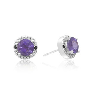 1 1/2 Carat Amethyst and Black Diamond Halo Stud Earrings In Sterling Silver