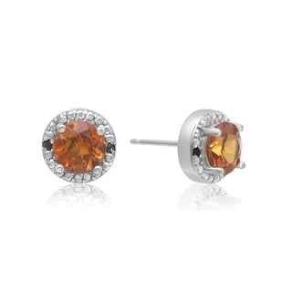 1 1/2 Carat Padparadscha and Black Diamond Halo Stud Earrings In Sterling Silver