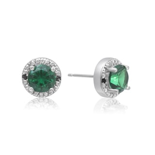 1 1/2 Carat Emerald and Black Diamond Halo Stud Earrings In Sterling Silver
