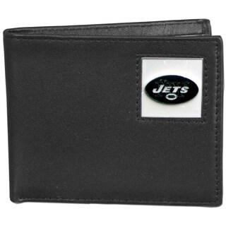 NFL New York Jets Black Leather Bi-fold Wallet in Gift Box