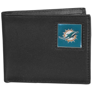 NFL Miami Dolphins Black Leather Bi-fold Wallet in Gift Box