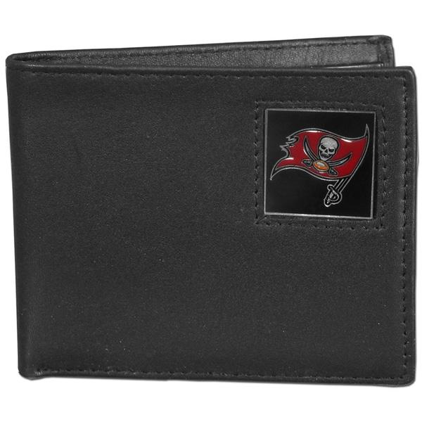 NFL Tampa Bay Buccaneers Black Leather Bi-fold Wallet in Gift Box