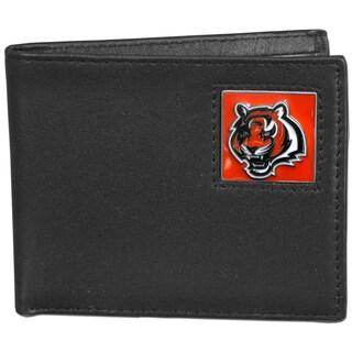 NFL Cincinnati Bengals Black Leather Bi-fold Wallet in Gift Box
