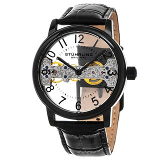 Stuhrling Original Men's Mechanical Bridge Skeleton Legacy Black Leather Strap Watch