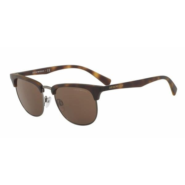 40b0152be6d39 Shop Emporio Armani Mens EA4072 508973 Havana Plastic Square Sunglasses - Free  Shipping Today - Overstock - 13474265