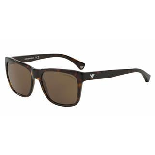 Emporio Armani Mens EA4041 502673 Havana Plastic Square Sunglasses