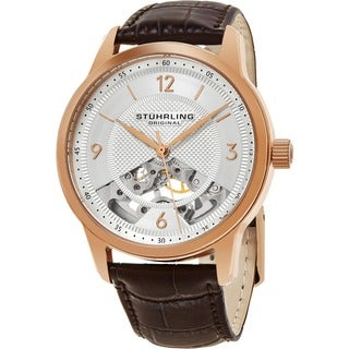Stuhrling Original Men's Mechanical Skeleton Legacy Brown Leather Strap Watch