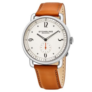 Stuhrling Original Men's Quartz Symphony Tan Leather Strap Watch