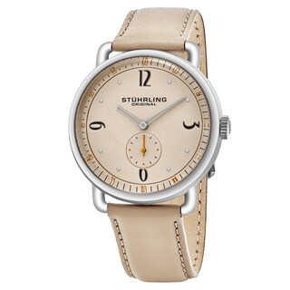 Stuhrling Original Men's Quartz Symphony Beige Leather Strap Watch - Brown/Cream