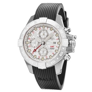 Ball Men's DC2036C-P-WH 'Space Master Orbital' Silver Dial Black Rubber Strap Chronograph GMT Swiss Automatic Watch
