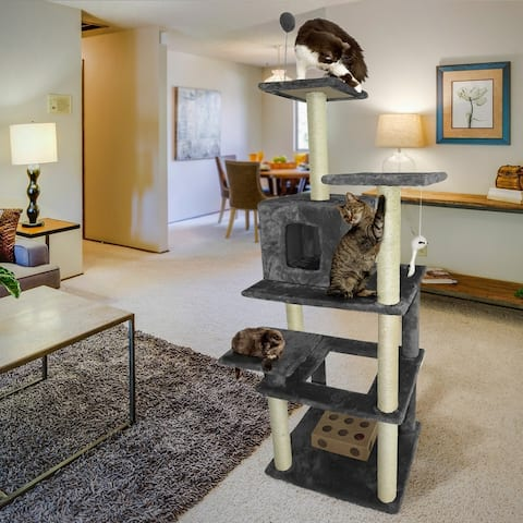 FurHaven Tiger Tough Highrise Playground Cat Tree House