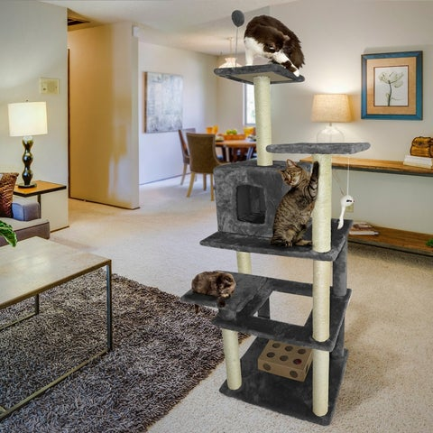 FurHaven Cat Tiger Tough Faux-fur, Polyester, and Wood Highrise Playground Cat Tree