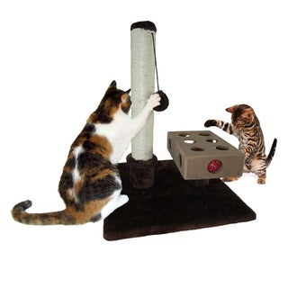 """FurHaven Tiger Tough Small Busy Box and Cat Scratching Post - 16"""" x 16"""" x 22.5"""""""