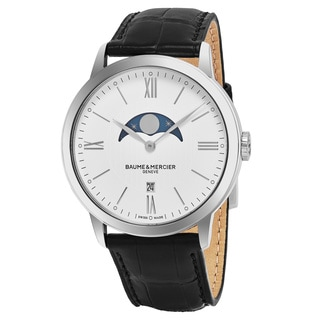 Baume & Mercier Men's MOA10219 'Classima' White Dial Black Leather Strap Moon phase Swiss Quartz Watch