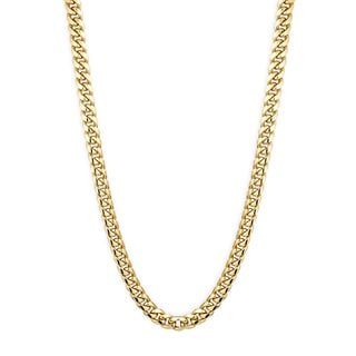 Luxurman 10K Yellow Gold 11 mm Hollow Miami Cuban Curb Curb Chain Necklace