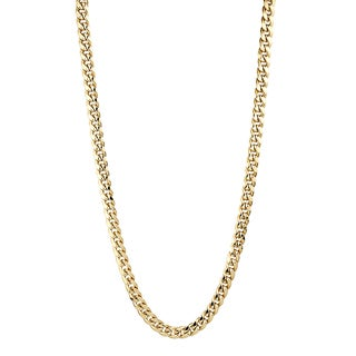 Luxurman 10K Yellow Gold 10 mm Hollow Miami Cuban Curb Chain Necklace