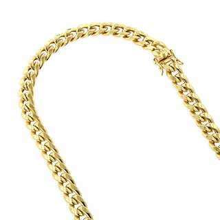 Luxurman 10K Yellow Gold 8 mm Hollow Miami Cuban Curb Chain Necklace