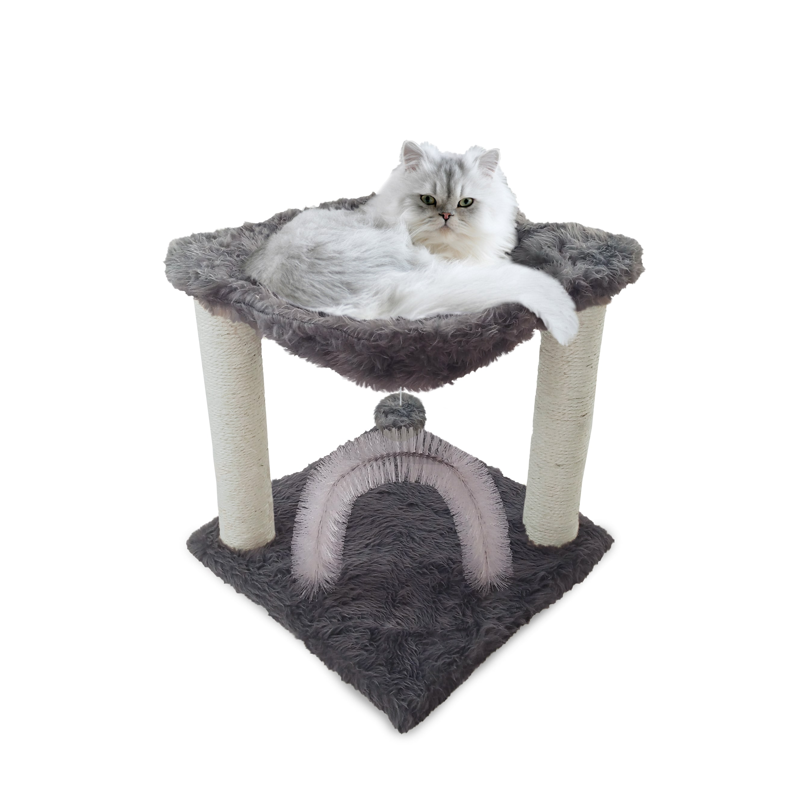 FurHaven Tiger Tough Plush Hammock Cat Bed and Grooming S...
