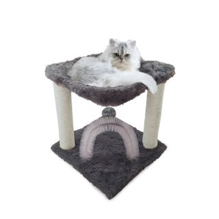 FurHaven Tiger Tough Plush Hammock Cat Bed and Grooming Station (Option: Silver)