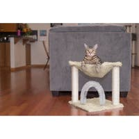 FurHaven Tiger Tough Plush Hammock Cat Bed and Grooming Station