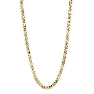Luxurman 10K Yellow Gold 7 mm Hollow Miami Cuban Curb Chain Necklace