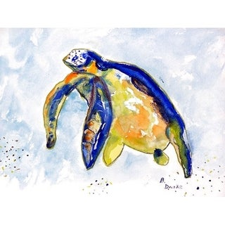 Betsy Drake Multicolor Polyester Blue Sea Turtle Left Placemats (Pack of 4)