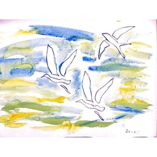 Betsy Drake Multicolor Polyester Three Gulls Placemats (Pack of 4)