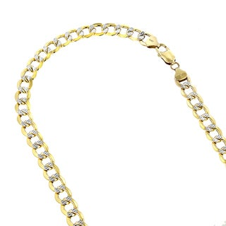 Luxurman 10K Yellow Gold 11 mm Diamond-Cut Italy Cuban Curb Chain Necklace