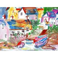Betsy Drake Boats at Steps Multicolor Polyester Placemats (Pack of 4)
