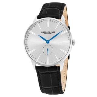 Stuhrling Original Men's Quartz Symphony Black Leather Strap Watch