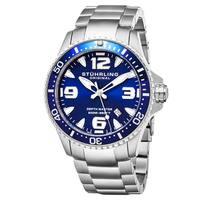 Stuhrling Original Swiss Quartz Aquadiver Unidirectional Stainless Steel Link Bracelet Watch - silver