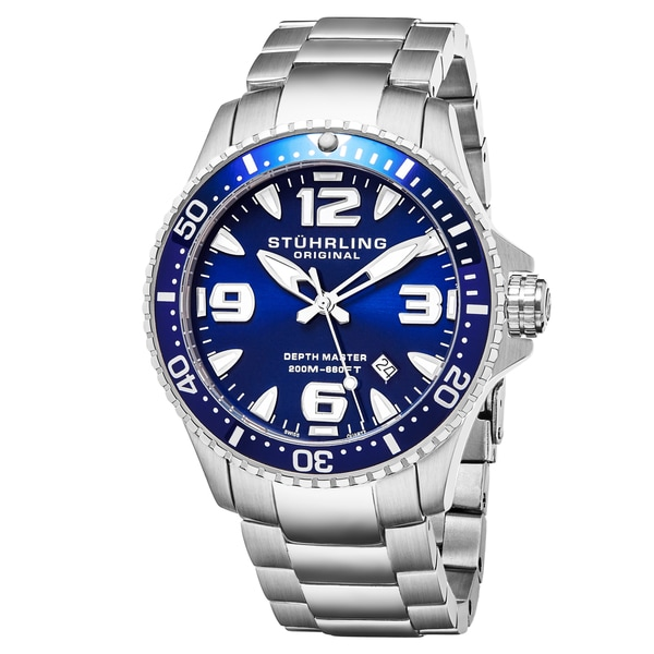 Stuhrling Original Swiss Quartz Aquadiver Unidirectional Stainless Steel Link Bracelet Watch - silver. Opens flyout.