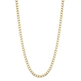 Luxurman 10K Yellow Gold 8.5 mm Diamond-Cut Italy Cuban Curb Chain Necklace