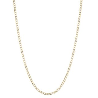 Luxurman 10K Yellow Gold 5 mm Diamond-Cut Italy Cuban Curb Chain Necklace