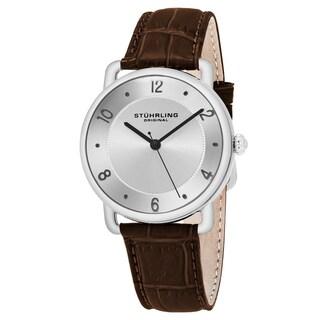 Stuhrling Original Unisex Quartz Symphony Brown Leather Strap Watch