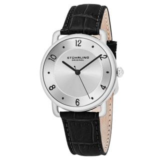 Stuhrling Original Unisex Quartz Symphony Black Leather Strap Watch