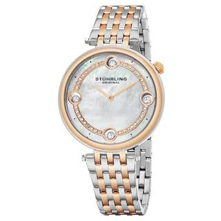Stuhrling Original Women's Quartz Two-Tone Stainelss Steel Link Bracelet Watch|https://ak1.ostkcdn.com/images/products/13474442/P20161109.jpg?impolicy=medium